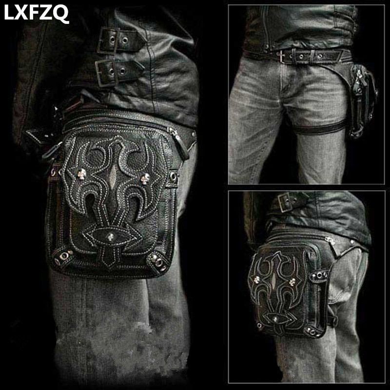 Steampunk Holster Protected Purse Shoulder Backpack Purse leather Men's bag carteras mujer <font><b>thigh</b></font> Motor leg Outlaw Pack
