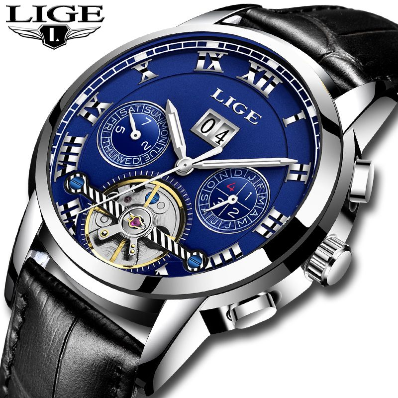 LIGE Mens Watches Top Brand Luxury Men's Automatic Mechanical Watch Men's Fashion Business Quartz Watch Men's Waterproof Watch