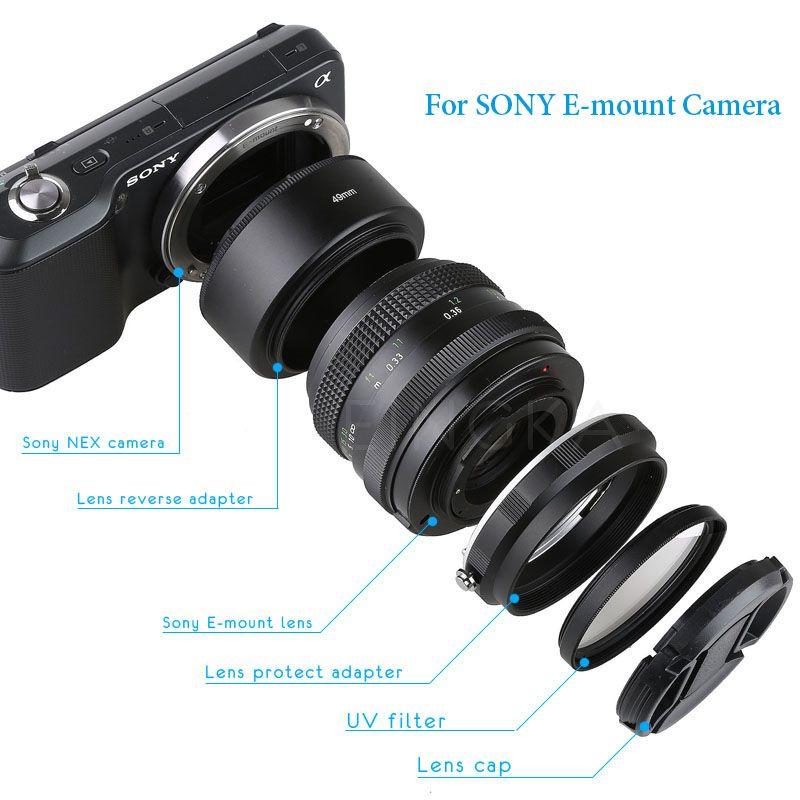Kit de protection pour objectif de caméra en métal Tube d'extension Macro pour Sony A6300 A6400 A6500 A5100 A5000 A9 A7 A7R II A7S NEX7
