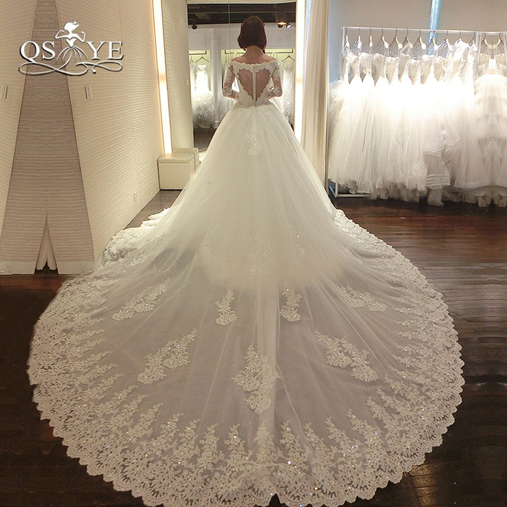 Luxury Lace Wedding Dresses with Detachable Train 2018 New Arrival Long Sleeve Sweetheart Beaded Appliques Bridal Dress Gown