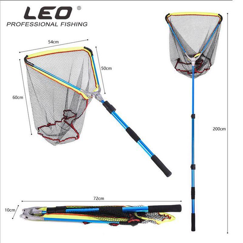 Große faltbare angeln landung netze fisch net cast tintenfisch gummibeschichtung netzwerk und stretching teleskopgriff