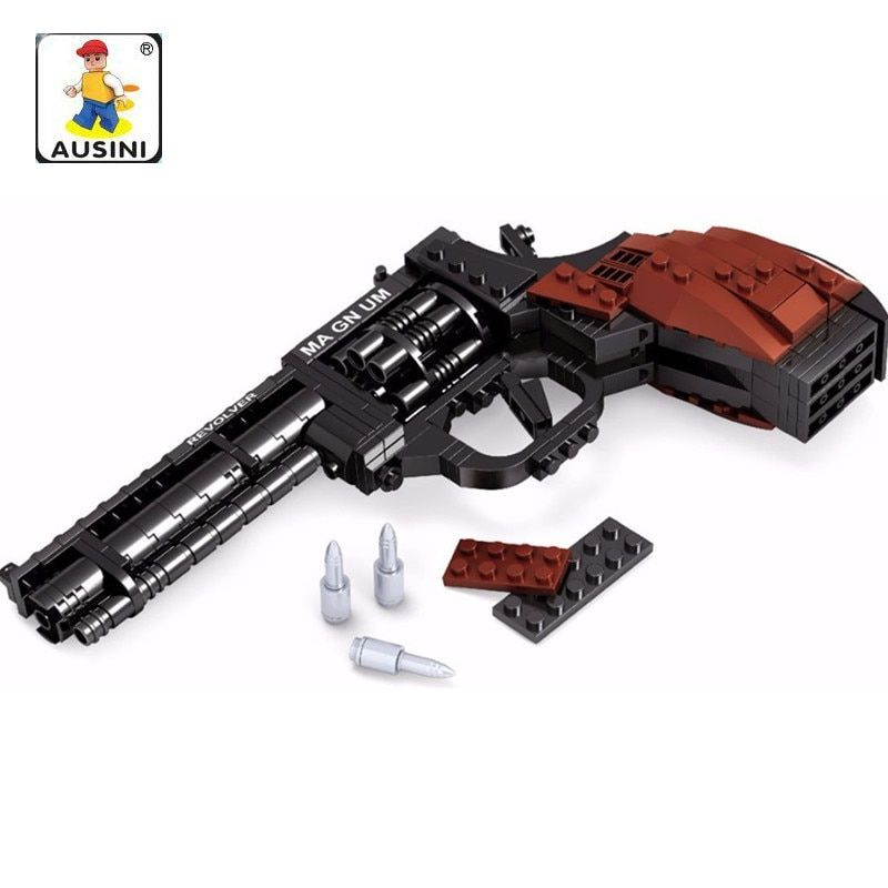 AUSINI 300Pcs Legoings Gun SWAT Magnum Revolver Pistol Power GUN Weapon Arms Model Toy Bricks Building Blocks Toys for Children