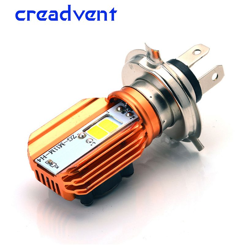 Creadvent Newest plug&play Motorcycle Headlight Bulb H4 Led 20W 2000LM Scooter Motorbike Headlamp white motor accessory 12v