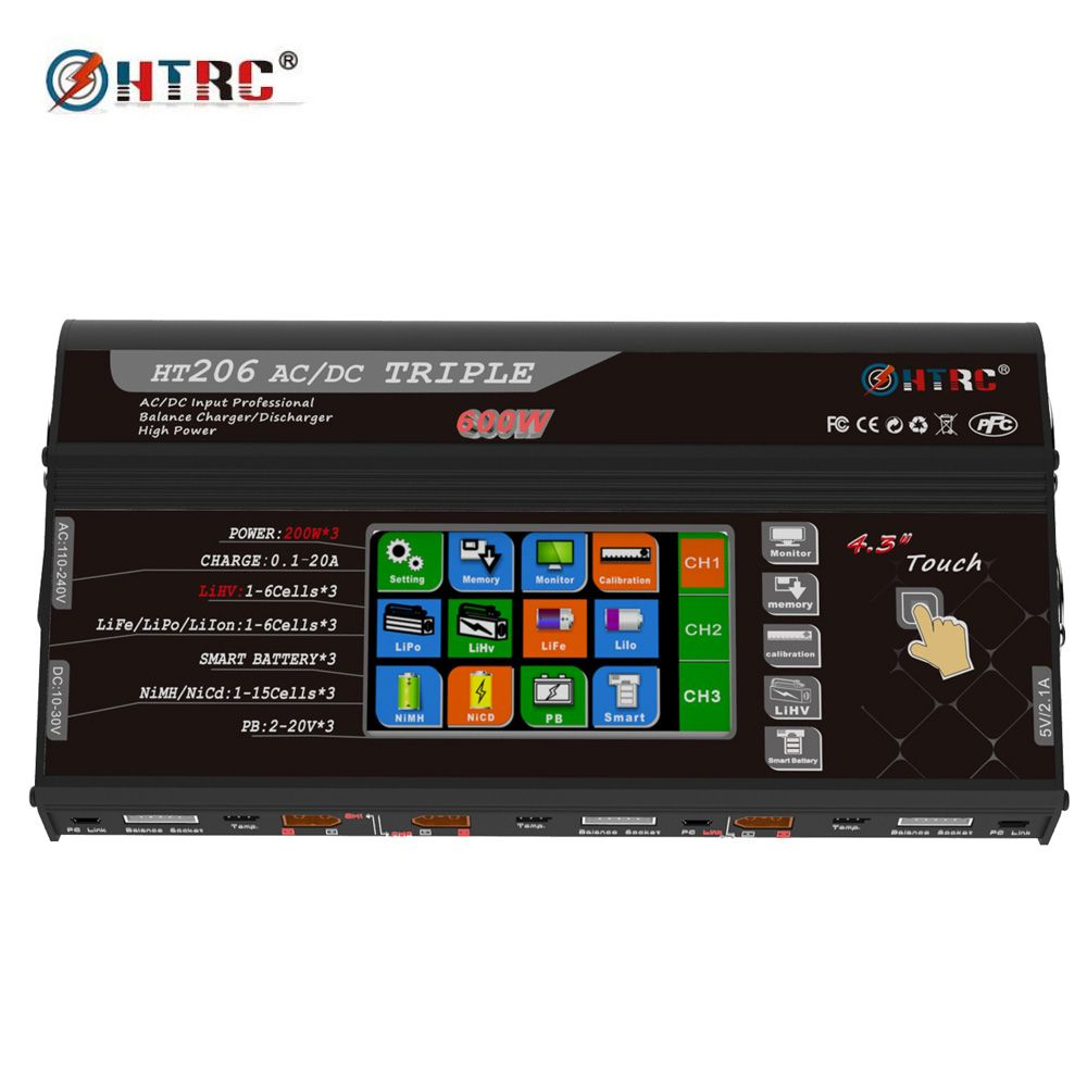 HTRC HT206 AC/DC TRI 200W*3 20A*3 Triple Port 4.3 Color LCD Touch Screen RC Balance Charger for Lilon/LiPo/LiFe/LiHV Battery