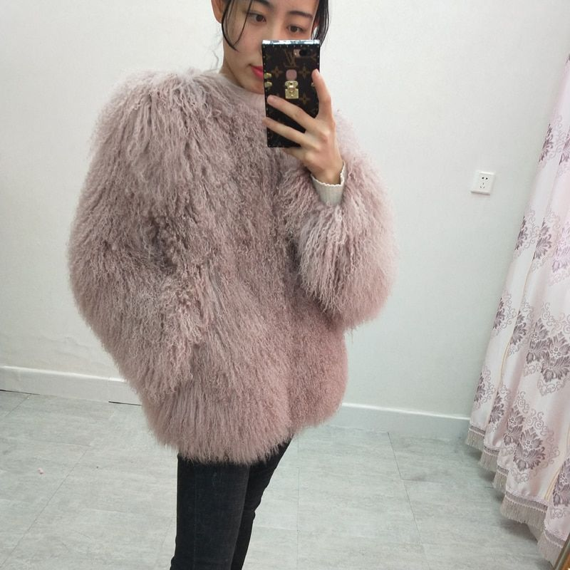 2018 fashion beach wool full leather short design coat mongolia sheep fur coat overcoat outerwear jacket women