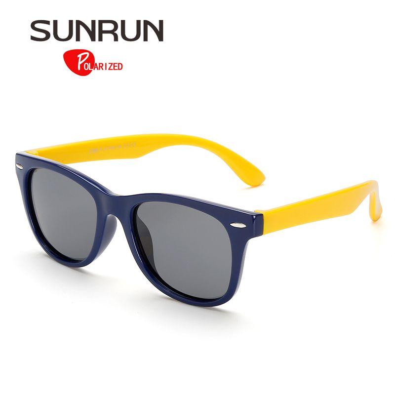 SUNRUN Enfants lunettes de Soleil Polarisées Classique Bébé Enfants TR90 Sécurité Revêtement Lunettes de Soleil UV 400 Protection S886