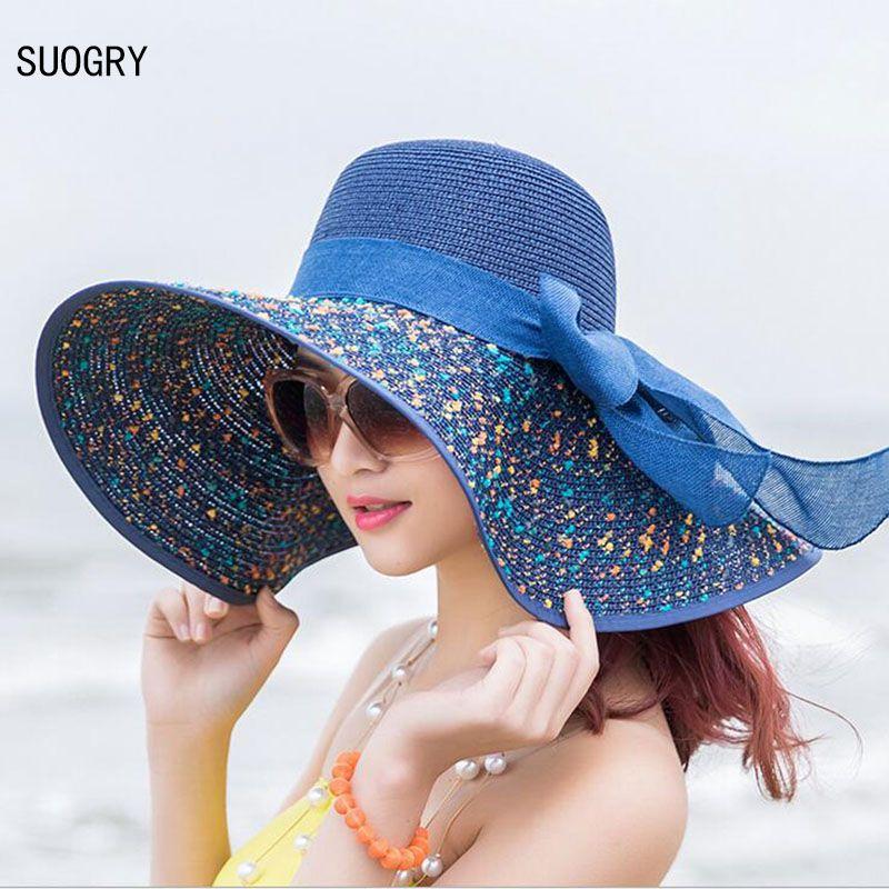 1 pièces femmes plage chapeaux casquettes 2017 été mode pliable en mousseline de soie disquette soleil chapeaux décontracté dames Sombreros Bowknot chapeau dames