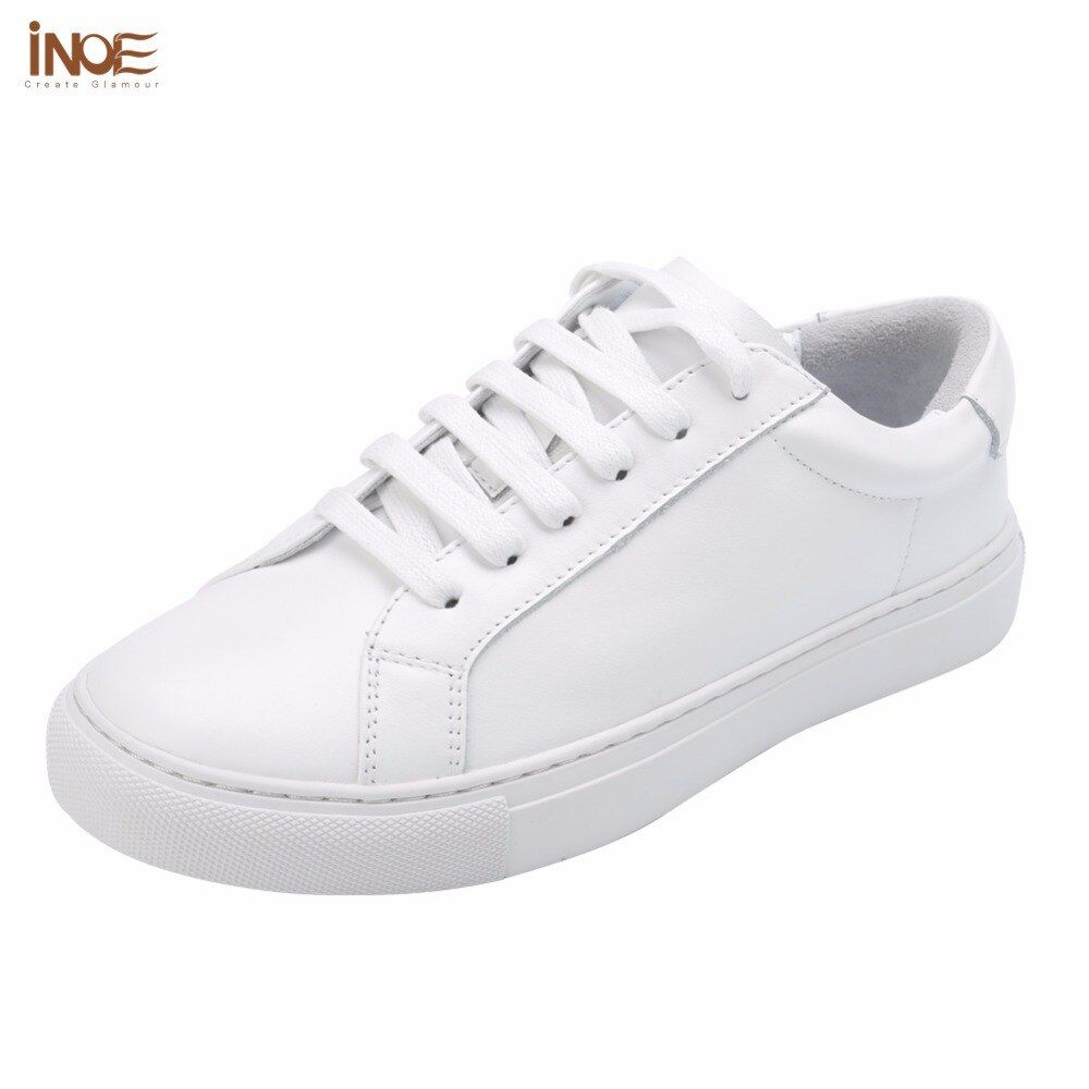 INOE fashion style women spring autumn sneakers leisure shoes flats real genuine cow leather woman casual loafers shoes white