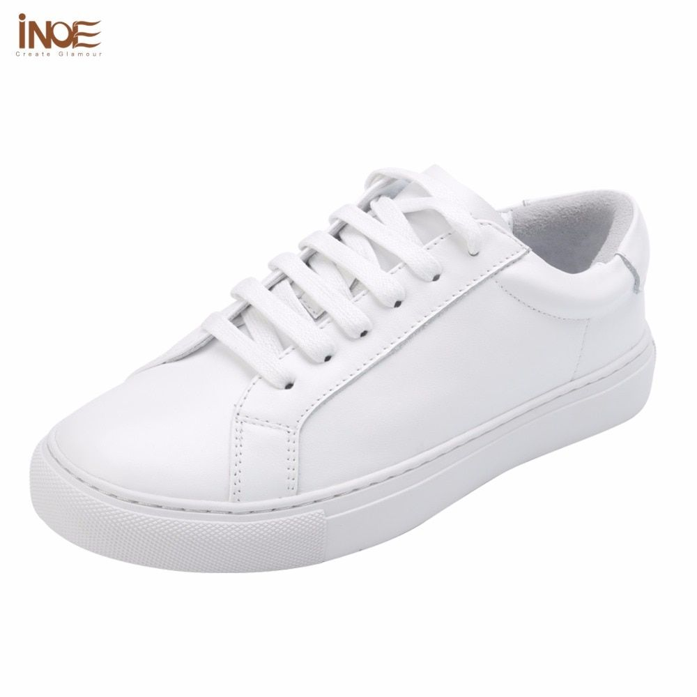 INOE fashion style women spring autumn sneakers <font><b>leisure</b></font> shoes flats real genuine cow leather woman casual loafers shoes white