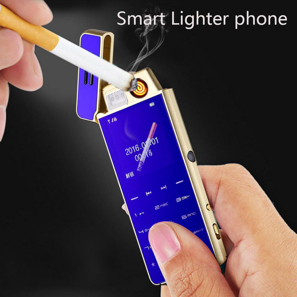 2018 Ultra-thin mini metal phone Cigarette lighter Personality Small Mobile Phone anti - lost positioning