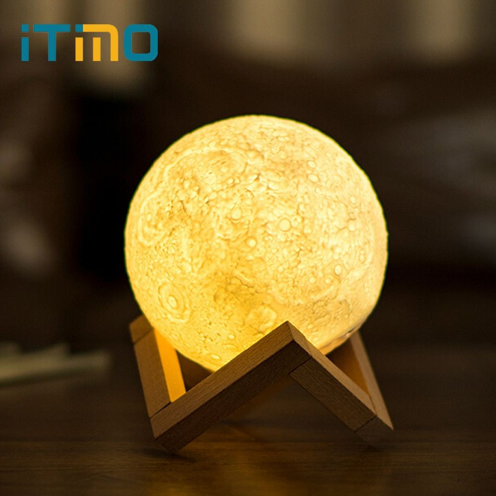 iTimo 12CM 15CM Rechargeable Moon Light Lamp 2 Color <font><b>Change</b></font> Touch Switch Bedroom Bookcase Night Light Home Decor Creative Gift