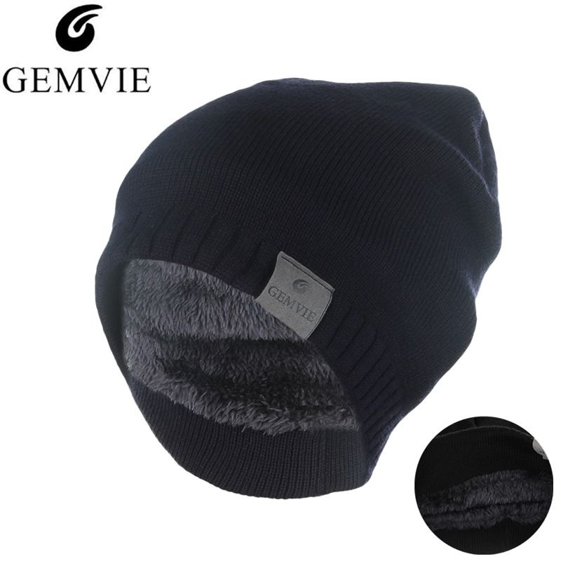 Fall Winter Knitted Hat Men Women Keep Warm Skullies Beanies Thicken Velvet Plush Lining Knit Beanie Cap Outdoor Sports Hat