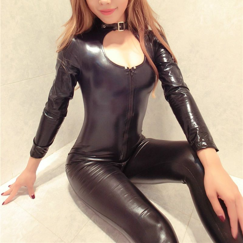 Nouveau Sexy Zipper Femmes Faux Cuir Salopette Érotique Mince PVC Catsuit Justaucorps Squelette Body Costume Club Wear Tenues