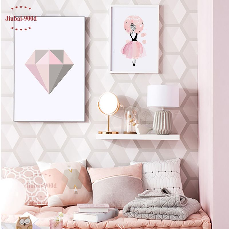 Pink Diamond Canvas Art Print Painting Poster, Watercolor Girls Wall Pictures For Home Decoration, Frame not include YE110