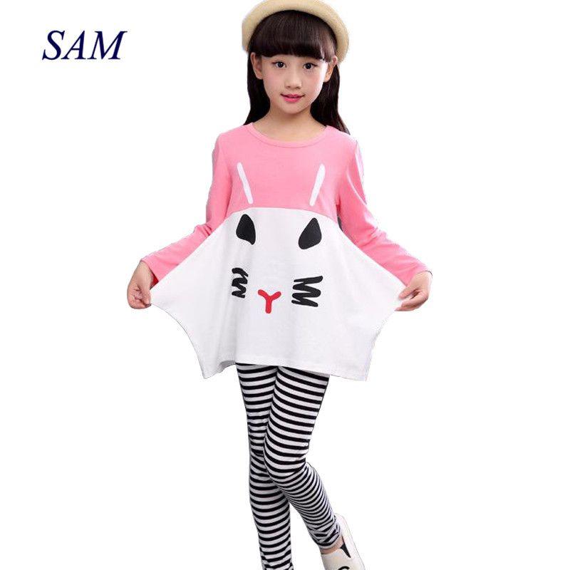 2019 nouveau coton enfants vêtements 3 4 5 6 7 8 9 10 ans filles vêtements à manches longues chemises rayé Leggings enfants costumes pour filles