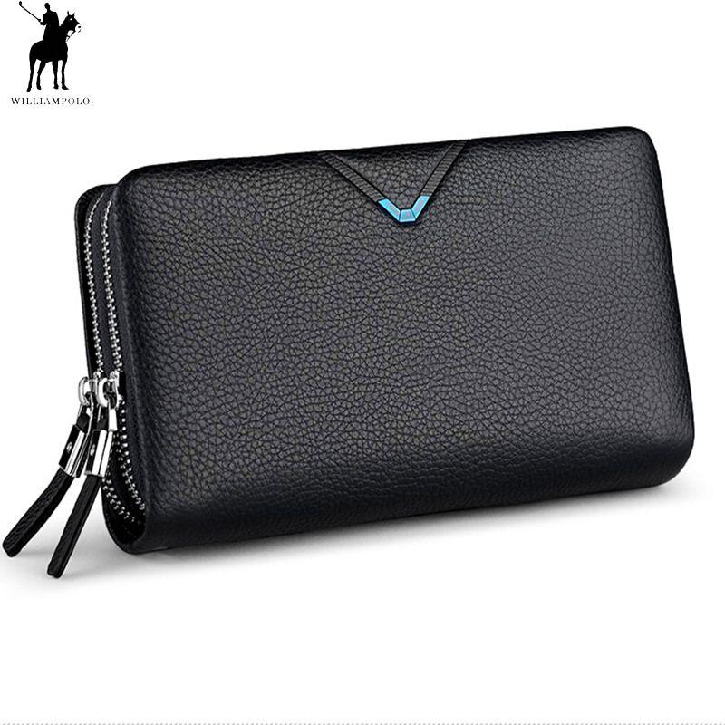 Männer Kupplung Tasche WILLIAMPOLO Kupplung Brieftasche Aus Echtem Leder Flap Handtasche Zipper Hand Strap Kupplungen Mann Geldbörse Rindsleder Luxus Geschenk