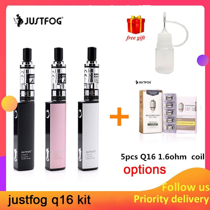 Original Justfog Q16 Starter Kit with 900mAh J-Easy 9 battery new Electronic Cigarette Vape Pen Kit with 1.9ml Q16 clearomizer