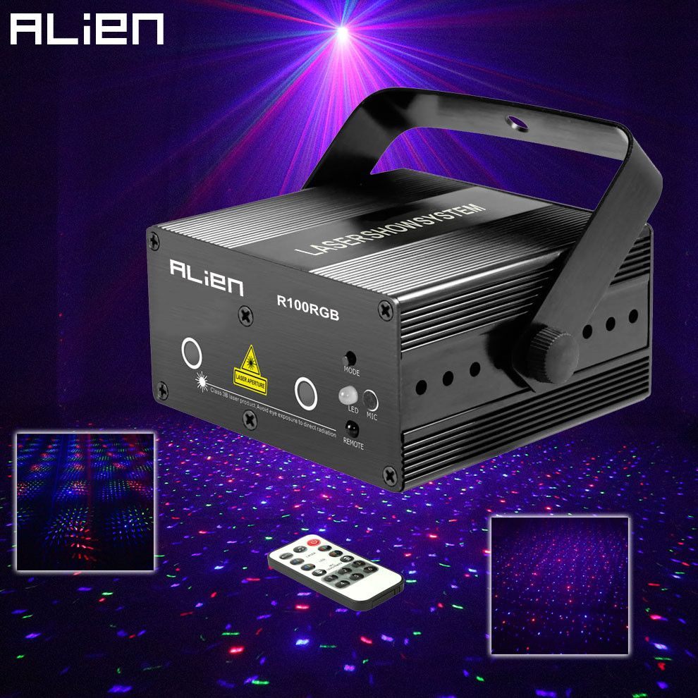 ALIEN Mini RGB Star Dot Laser Light Projector Stage Lighting Effect DJ Disco Party Christmas Music Show Lights With IR Remote
