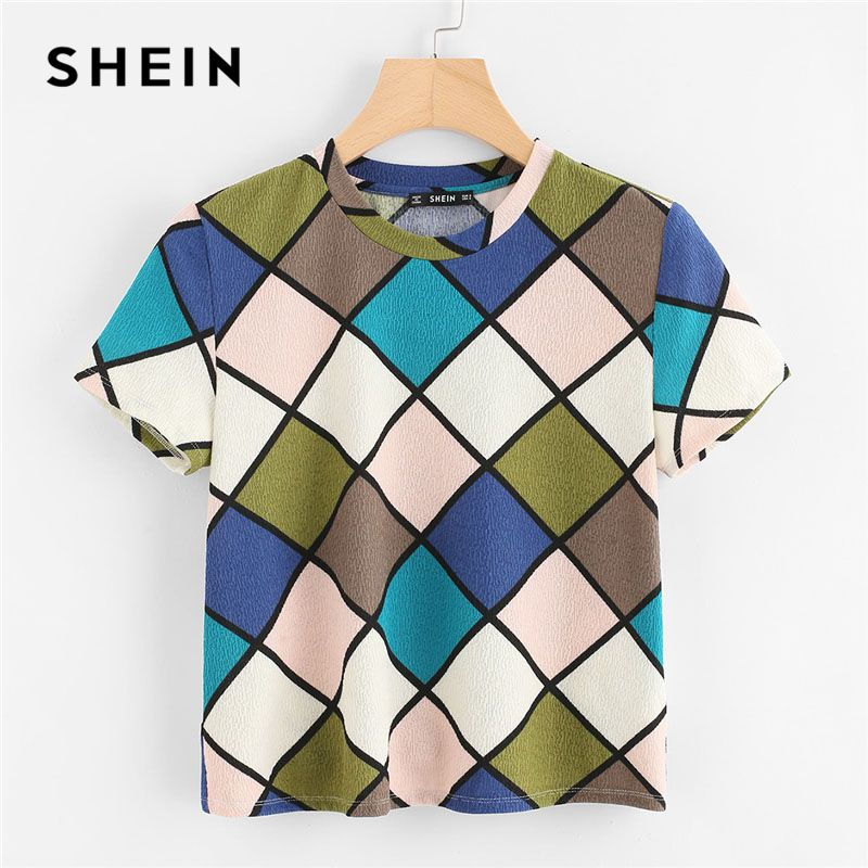 SHEIN Geometric Print Textured Top Women Round Neck Short Sleeve Clothing Stretchy Top Tee 2018 Summer Casual T-shirt