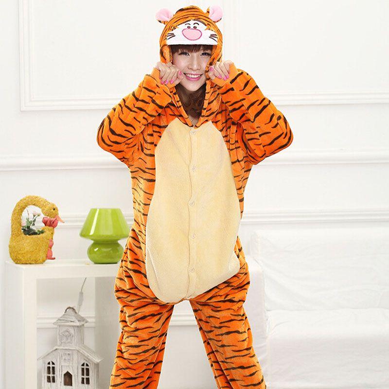 Animal Tiger Kigurumi Onesie Adult Teenagers Women Pijama Pajamas Funny Flannel Warm Soft Sleepwear Overall Onepiece Jumpsuit