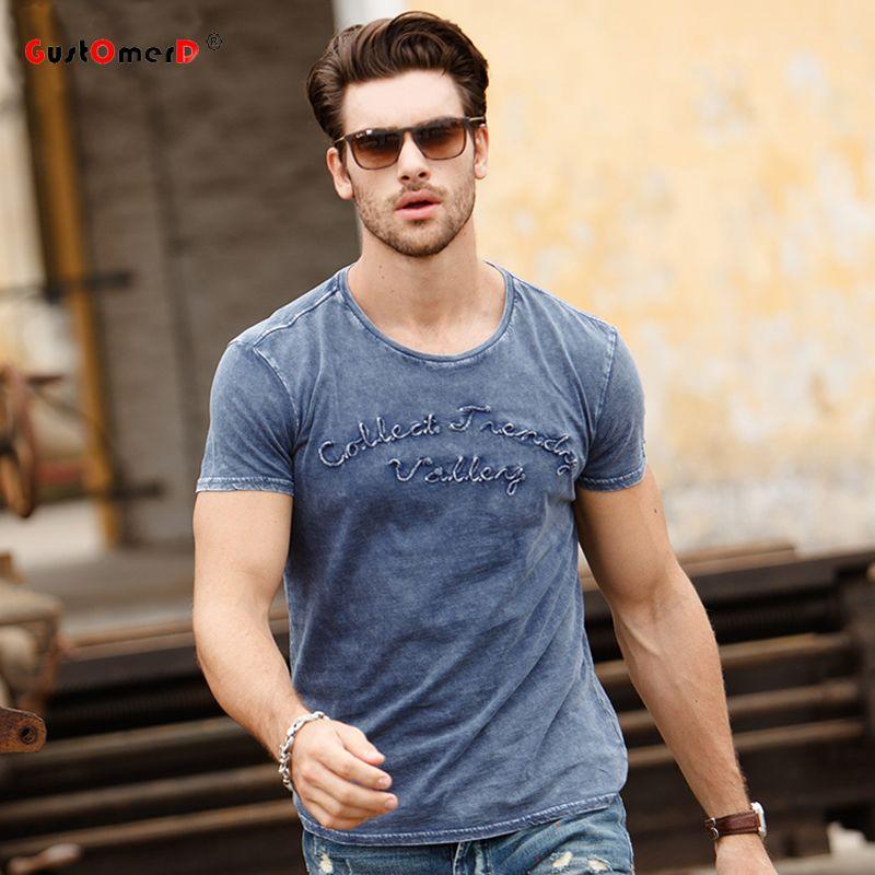 GustOmerD eau lavé 2019 nouveau Design de mode hommes T-shirts broderie à manches courtes O cou hauts T-shirts t-shirt coton décontracté hommes