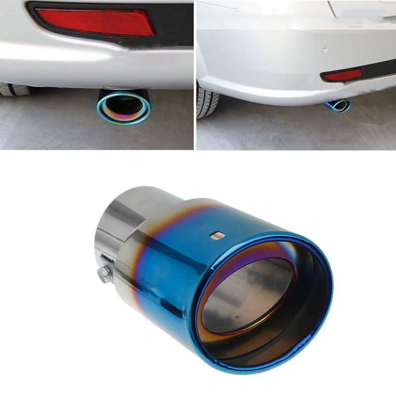 2017 Car Rear Round Exhaust Pipe Tail Throat Muffler Tip Universal Stainless Steel Pipe Chrome Trim Modified Mufflers