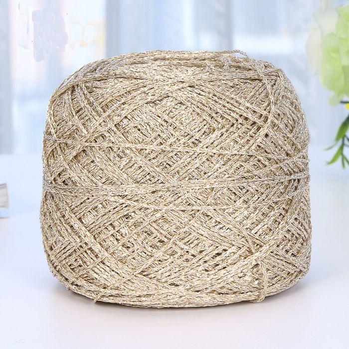 Hot 1 balls/lot 90g natural hard Golden cotton yarn thin mixed yarn wholesale Shinny thread 200 meters