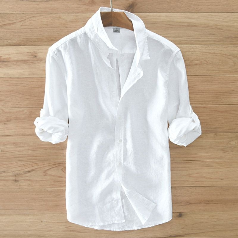 2017 Summer white shirt men comfort linen shirts men long sleeve casual men shirt brand clothes mens shirts fashion S-3XL camisa