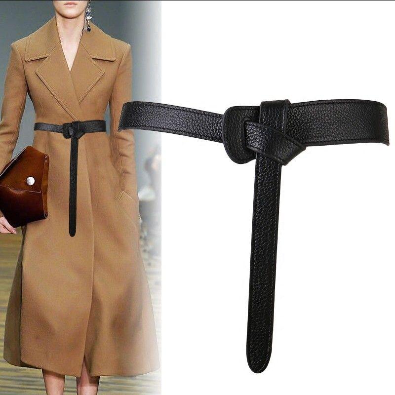 Ceinture de luxe pour femmes rouge noeud design mince PU cuir Jeans ceintures boucle sangle ceintures bownot marron robe manteau accessoires