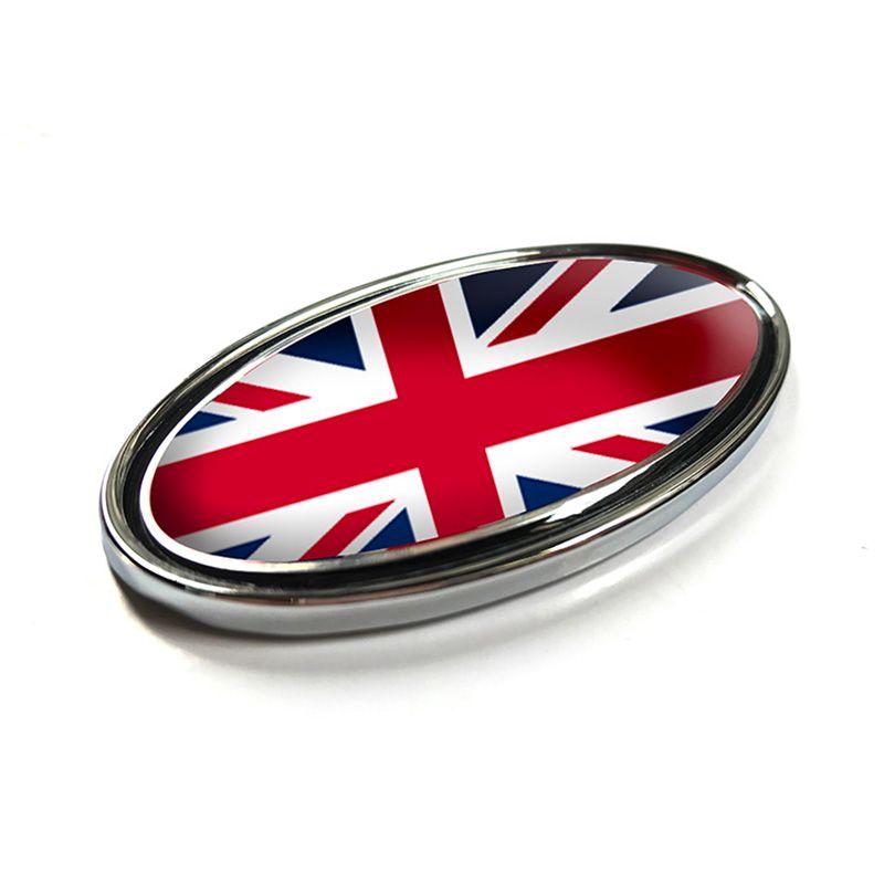 Red Union Jack UK Flag Ellipse Emblem Badge Refitting Car Styling Grille Rear Trunk Logo Sticker for Land Range Rover 85/105mm