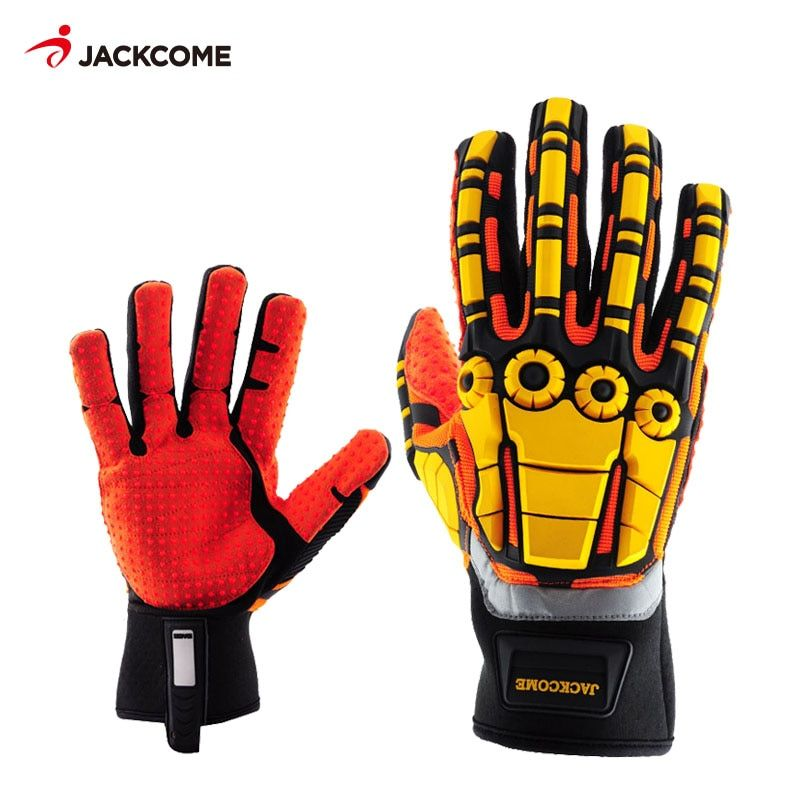 Oil and Gas Safety Gloves Anti Vibration Nylon Shock Mechanics Impact Oil and Water Resistant Gloves