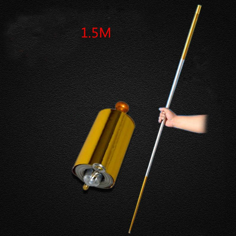 <font><b>1pcs</b></font> 150CM length golden Silver black cudgel metal Appearing Cane magic tricks for professional magician stage street 83034