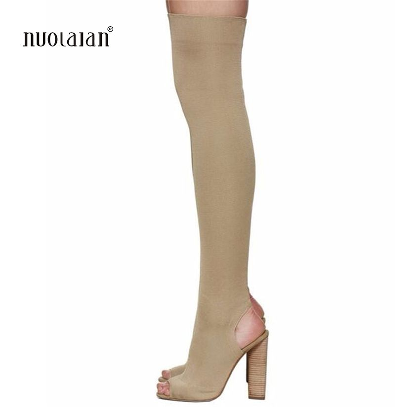 2017 Newest Women Boots Thigh High Boots Celebrity Wearing Simple Style Sexy Over the Knee Boots High Heels Shoes Woman