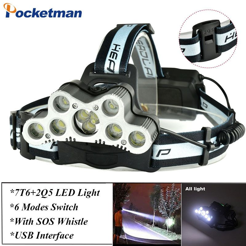 Super 45000LM USB 9 LED Led Headlamp Headlight head flashlight torch XM-L T6 head lamp rechargeable for 18650 battery