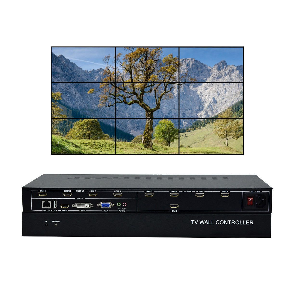 ESZYM 9 Kanal TV Video Wand Controller 3x3 2x4 4x2 HDMI DVI VGA USB video Prozessor