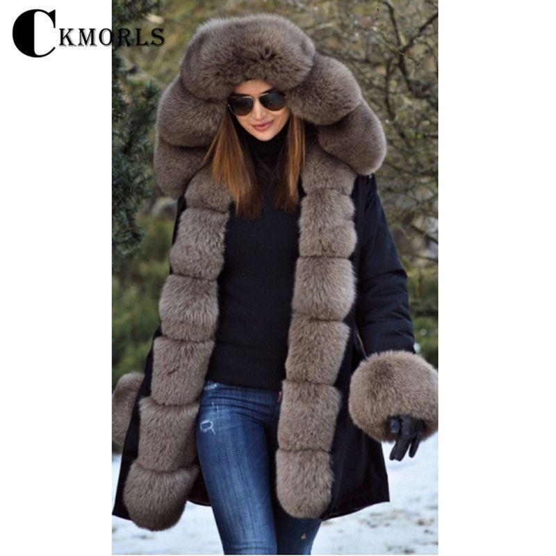 CKMORLS Neue Frauen Parkas Mantel Winter Dicke Warme Pelz Jacke Natürliche Echt Fox Pelz Kragen Plus Größe Parka Schwarz Lange outwear Luxus