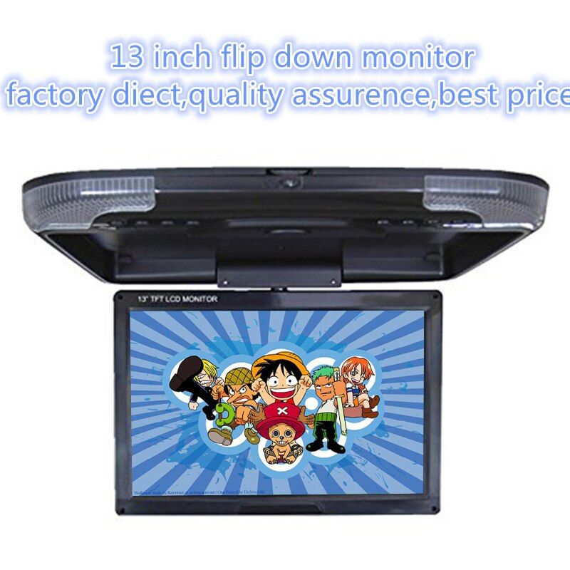 DC12V 13 inch car monitor TFT LCD high digital screen car Roof Mount Mobitor 2-way video input three color Flip Down Monitor