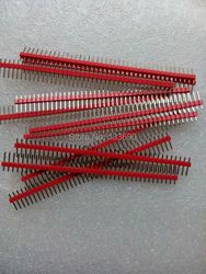 10pcs/lot Good quality 2.54mm 1X40 Single Row Red Male Pin Header Strip