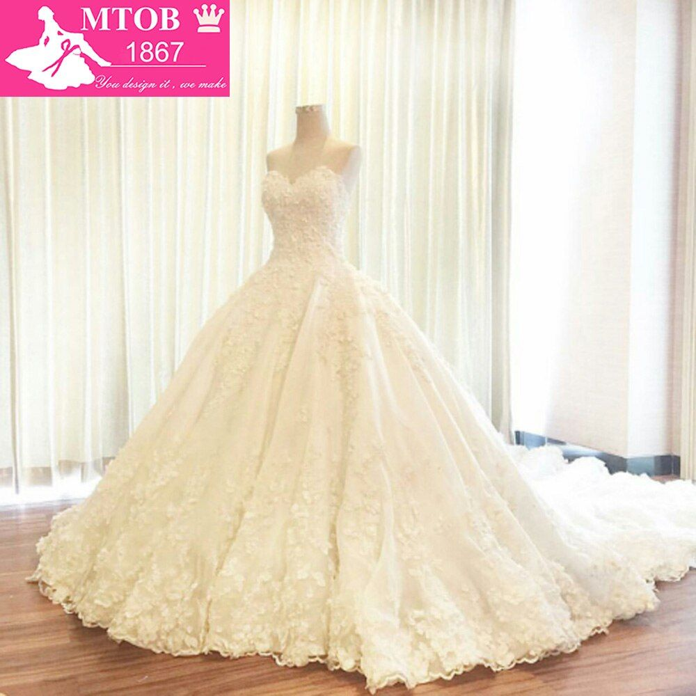 Wedding Dress 2018 Alibaba China Strapless Ball Gown Lace bridal Gowns Long Train Beaded Appliques vestido de noiva prince W1126