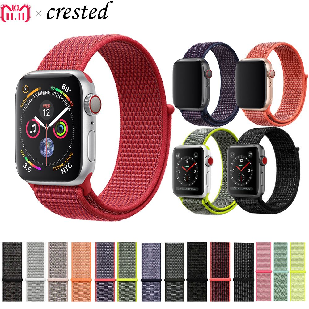 CRESTED nylon sport loop strap For Apple Watch band 42mm/38mm 44mm/40mm iWatch 4/3/2/1 bracelet wrist watchband accessories