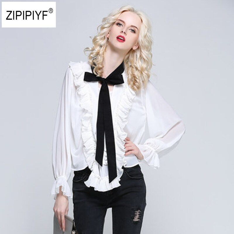 New Long Puff Sleeve Blouse Elegant Women Tops Office Wear Casual Big V-Neck Tie Neck Stringy Ruched Vintage TrackShirt B1069
