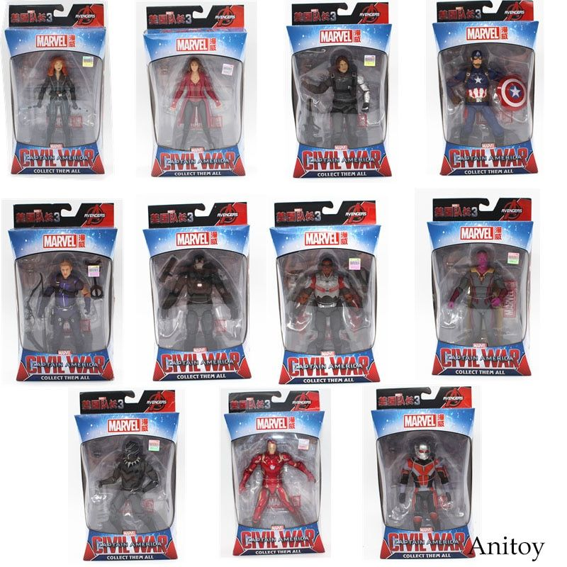 Marvel Avengers Iron Man Black Panther Hawkeye Captain America Black Widow PVC Action Figure Collectible Model Toys 17cm KT3351