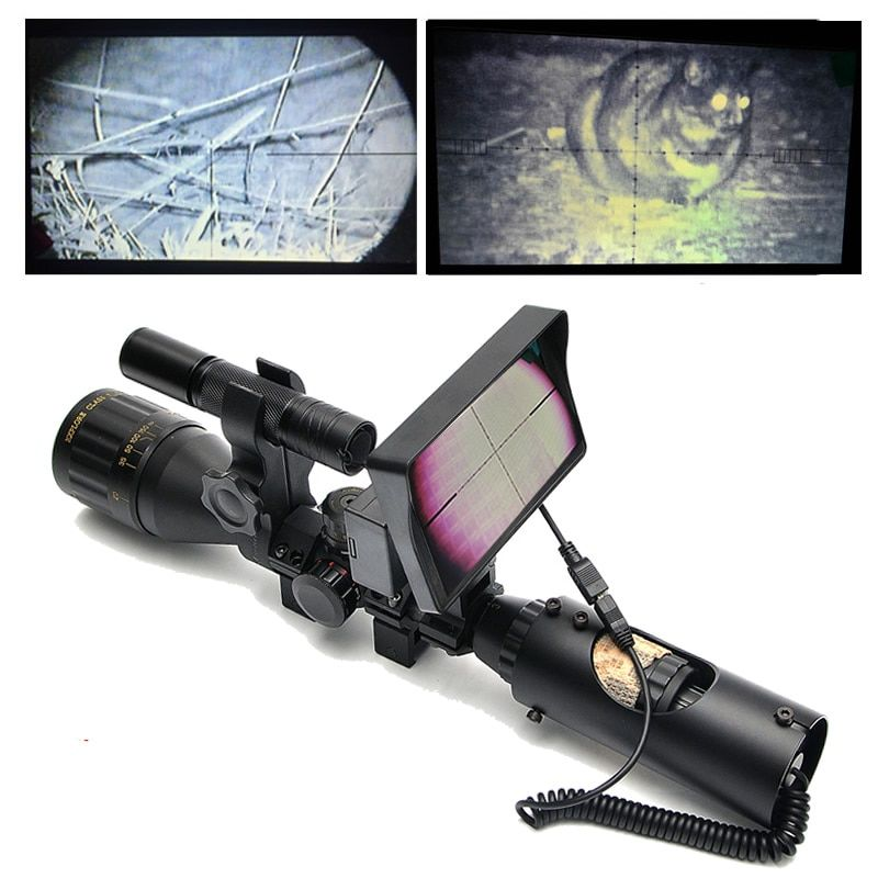 6-24x50 Hunting Scopes Night Vision Riflescope Caza Infrared Night Sight With Battery Monitor and Flashlight