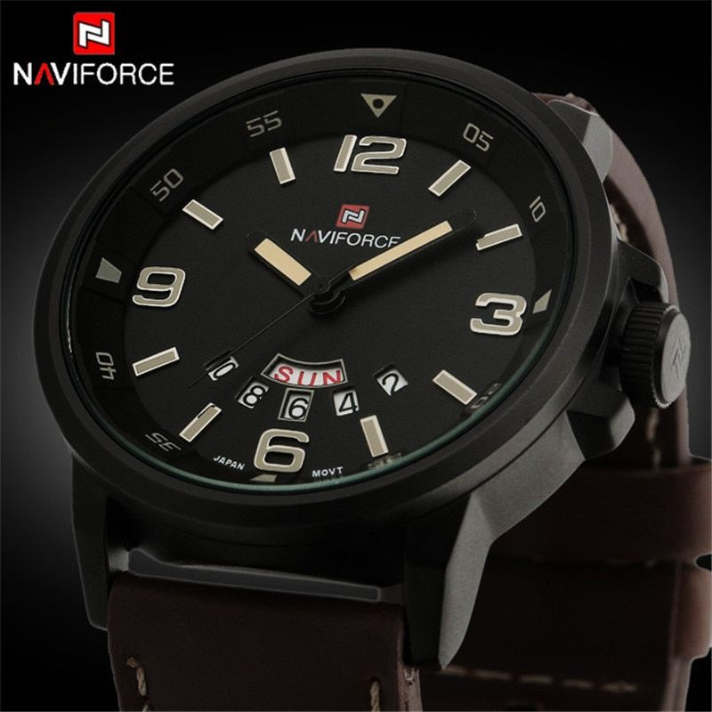2017 <font><b>NAVIFORCE</b></font> Mens Watches Top Brand Luxury Men's Quartz Watch Waterproof Sport Military Watches Men Leather relogio masculino