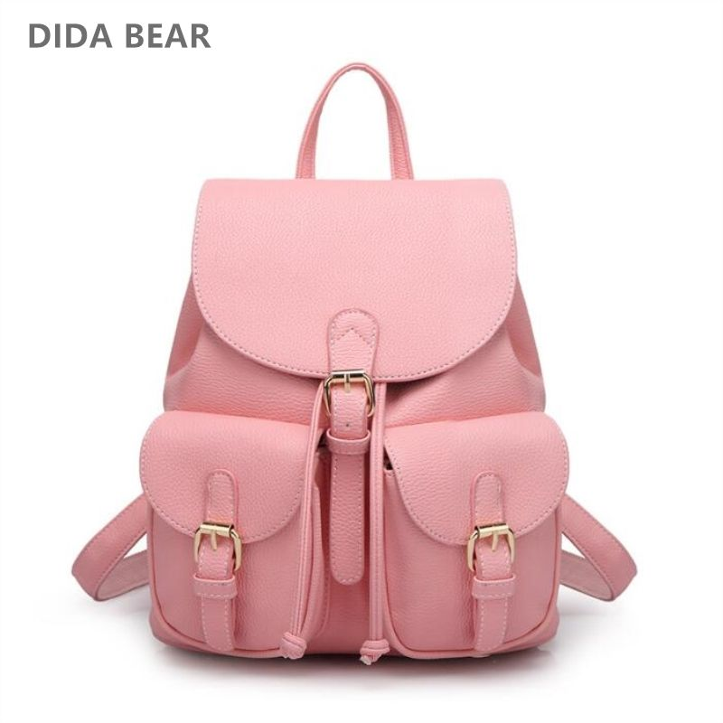 DIDA BEAR Women Leather Backpack Black Bolsas Mochila Feminina Large Girl Schoolbag Travel Bag School Backpacks Candy Color Pink