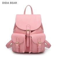 DIDA oso mujeres Mochila De Cuero Negro Bolsas Mochila femenina gran chica Mochila bolsa de viaje de la escuela mochilas Color caramelo rosa