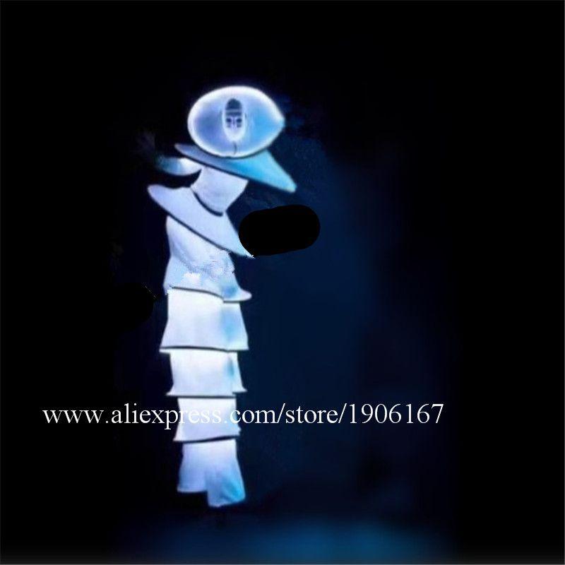 Ballroom Dance Led Costumes Robot Stilt Suit White Luminous Light Clown Stage Wears Catwalk Performance Clothes Bar Led O