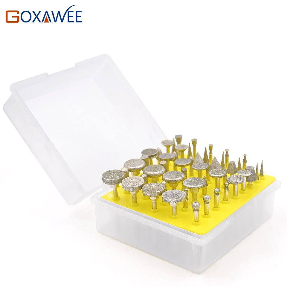 GOXAWEE Dremel Accessoires 3mm Shank Diamant Grinding Burr Forets Ensembles Pour Dremel Rotary Outils Tête de Meulage Outil Abrasif