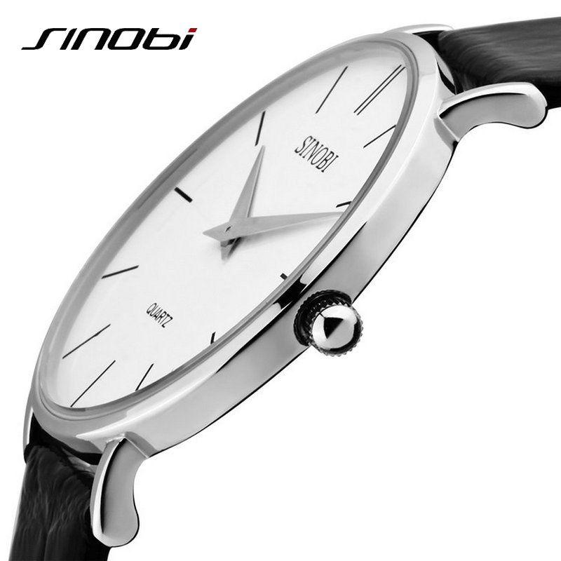 Montre à Quartz analogique en cuir de marque SINOBI pour hommes d'affaires de montre-bracelet à Quartz décontractée Super mince