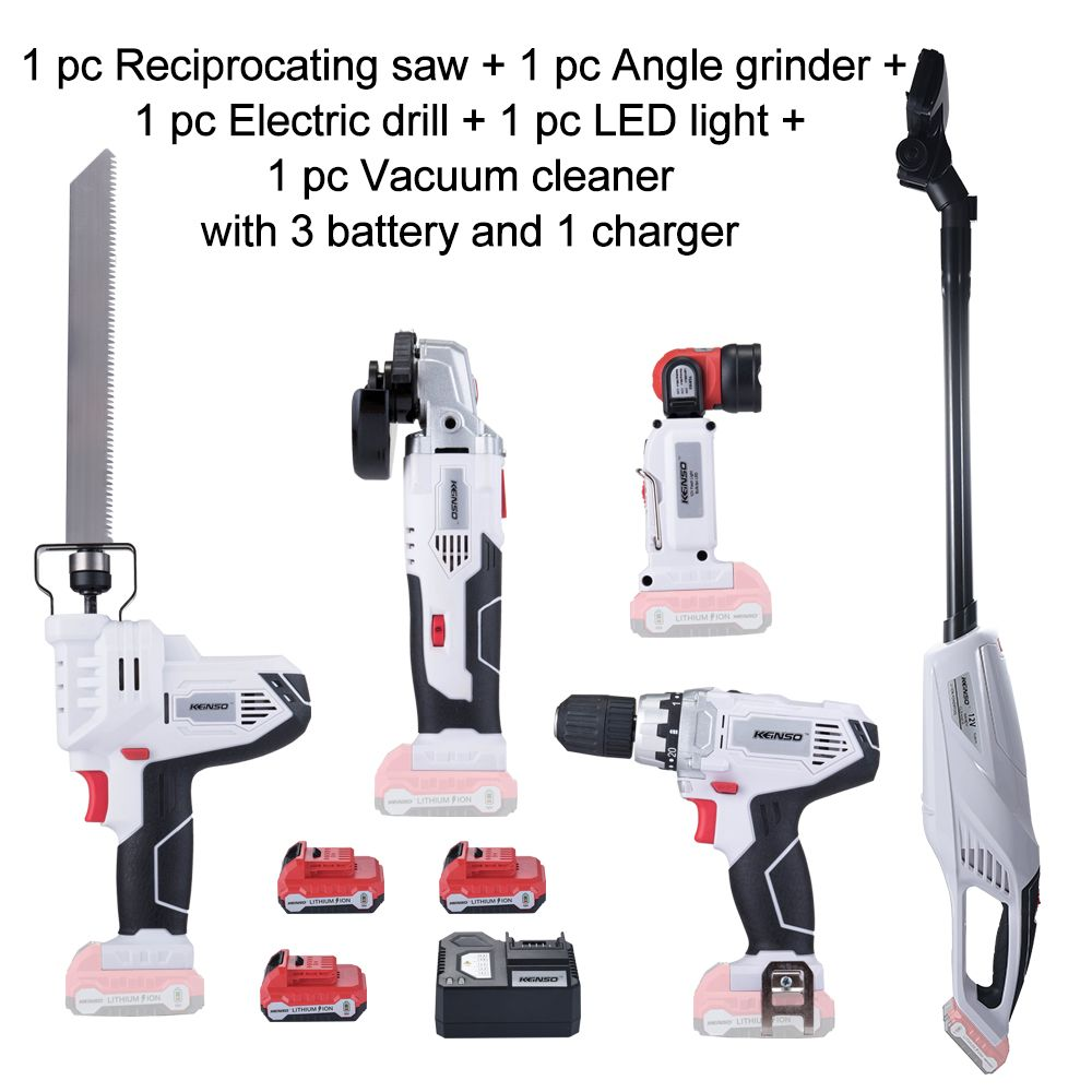 5-Piece KEINSO 12V Lithium-Ion Cordless Power Tool Combo Kit Saw/Angle grinder/Drill/LED light/Vacuum cleaner Combination